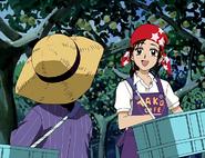 Akane cogiendo peras