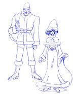Bocetos de Mizushitatare y Kintoresky con trajes navideños