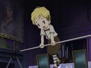 Niño mansion jugando vara