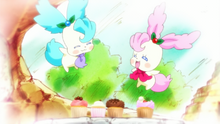 KKPCALM41-Pikario & Kirarin with sweets they made