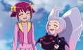 Nico, Miyuki and the Magic King smiling