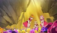 Las chicas buscando las flores