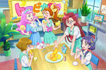 Tropical-Rouge! Pretty Cure sponsor card with the five girls and Kururun in the club room