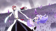 Phantom y Fortune luchando en el cementerio de pretty cure