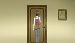 Megumi knocking on Nozomi's door