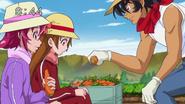 Aki le ofrec una zanahoria a Aguri