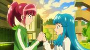 Megumi & Hime prometiendose amistad, y que a partir de ahora lucharan juntas