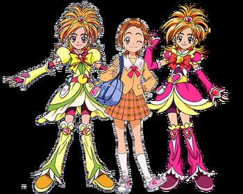Saki y Cure Bloom y Bright.png