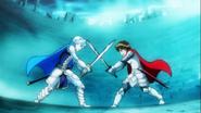 Seiji y Blue peleando