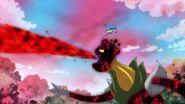 Fontaine enfrentando al Megabyougen del campo de flores