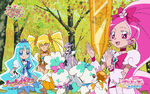 Heartcatch Pretty Cure!! Wallpaper of Cures looking after a Heart Flower
