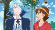 Seiji preguntando a Blue si disfruta de la fiesta