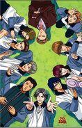 The whole Hyotei team Clockwise from top - Sakaki, Jiro, Hiyoshi, Gakuto, Oshitari, Atobe, Kabaji, Choutarou, Shishido, Taki