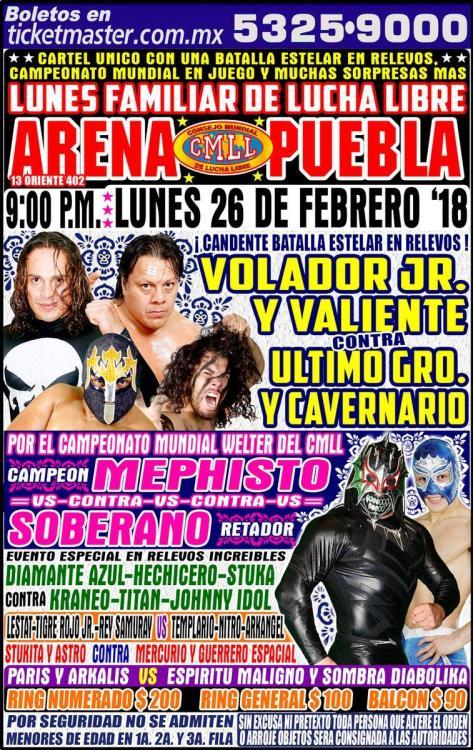 CMLL Lunes Arena Puebla (February 26, 2018)