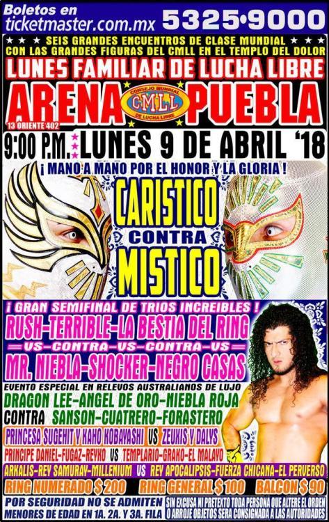 CMLL Lunes Arena Puebla (April 9, 2018)