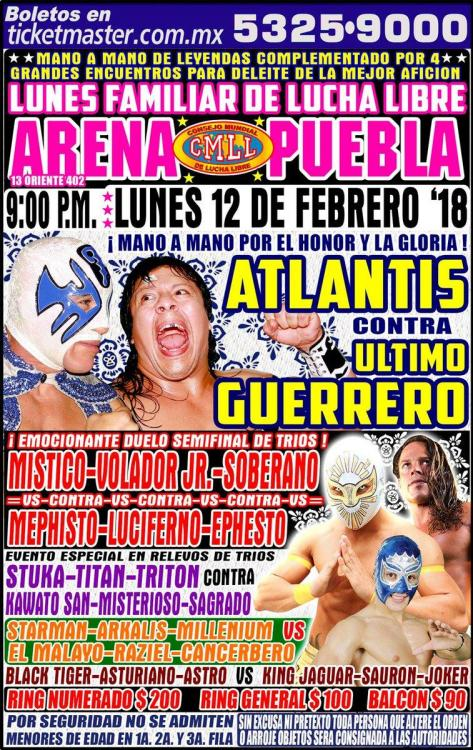 CMLL Lunes Arena Puebla (February 12, 2018)