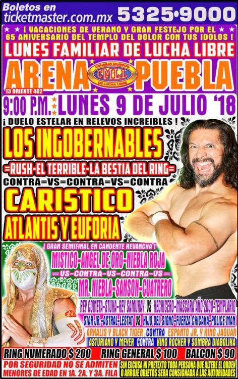 CMLL Lunes Arena Puebla (July 9, 2018)