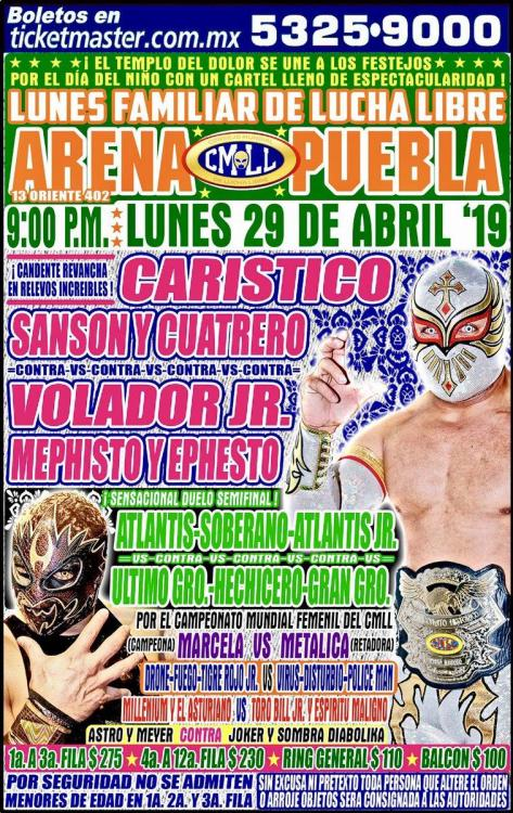 CMLL Lunes Arena Puebla (April 29, 2019)
