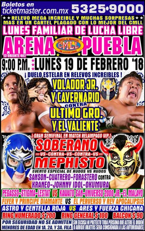 CMLL Lunes Arena Puebla (February 19, 2018)