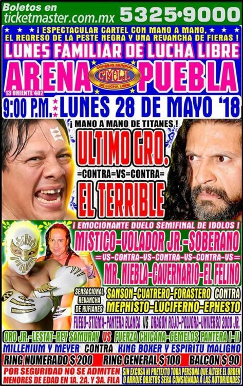 CMLL Lunes Arena Puebla (May 28, 2018)