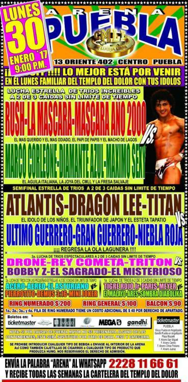 CMLL Lunes Arena Puebla (January 30, 2017)