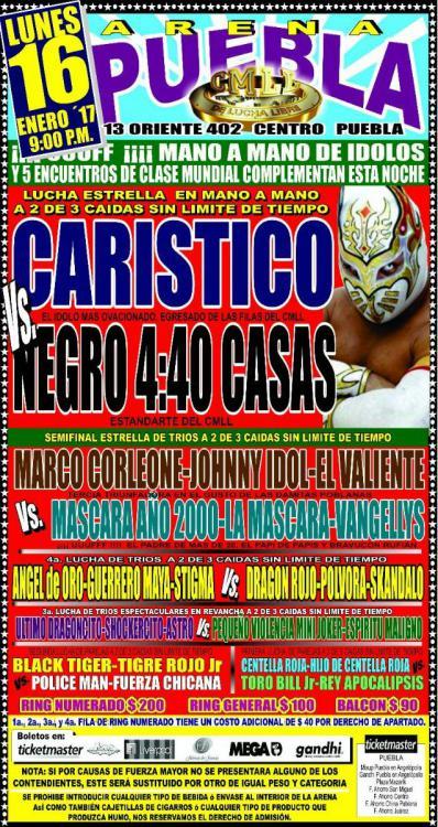 CMLL Lunes Arena Puebla (January 16, 2017)