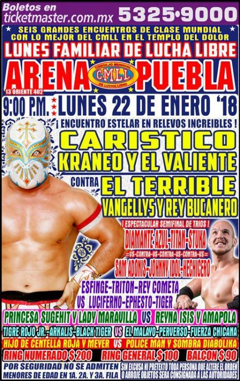 CMLL Lunes Arena Puebla (January 22, 2018)