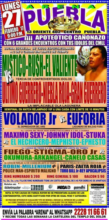 CMLL Lunes Arena Puebla (February 27, 2017)