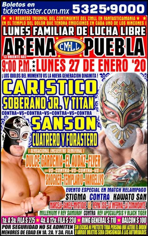 CMLL Lunes Arena Puebla (January 27, 2020)