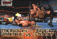 2001 WWF RAW Is War (Fleer) The Rock and Undertaker vs Edge & Christian 61