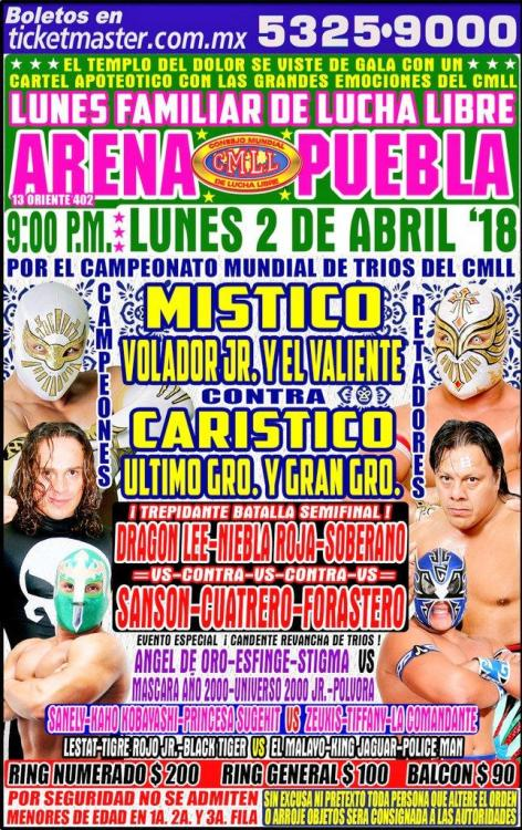 CMLL Lunes Arena Puebla (April 2, 2018)