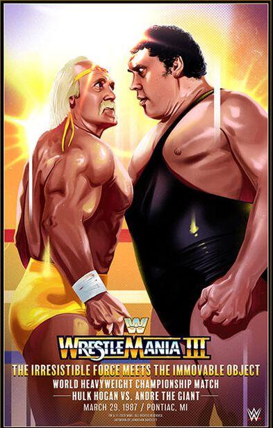 WWF Event Poster Vintage Wrestling Wrestlemania 3 Poster Hulk Hogan WWE Poster Macho Man Andre The Giant