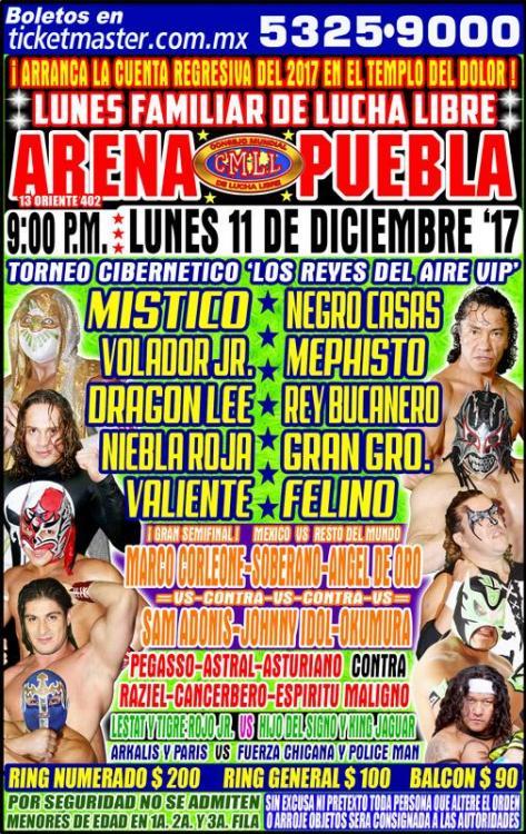 CMLL Lunes Arena Puebla (December 11, 2017)