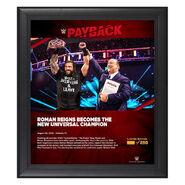 Roman Reigns Payback 2020 15x17 Commemorative Plaque