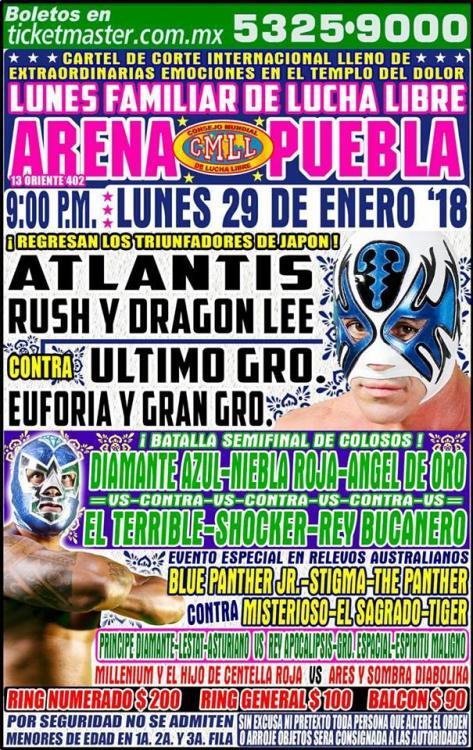 CMLL Lunes Arena Puebla (January 29, 2018)