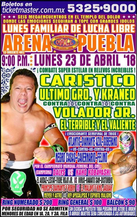 CMLL Lunes Arena Puebla (April 23, 2018)