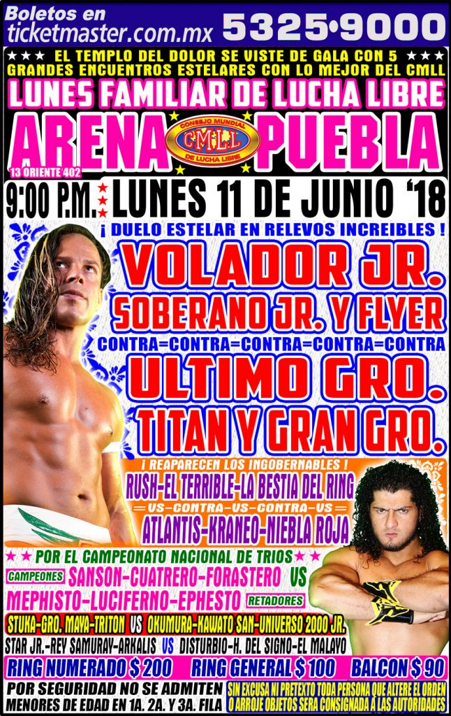 CMLL Lunes Arena Puebla (June 11, 2018)