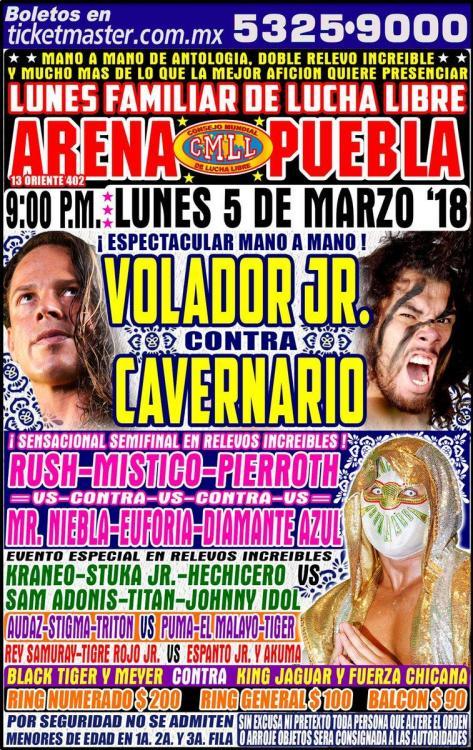 CMLL Lunes Arena Puebla (March 5, 2018)
