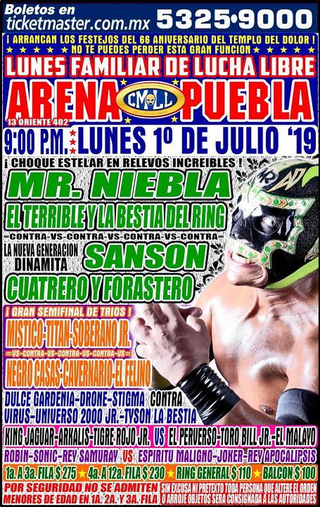 CMLL Lunes Arena Puebla (July 1, 2019)