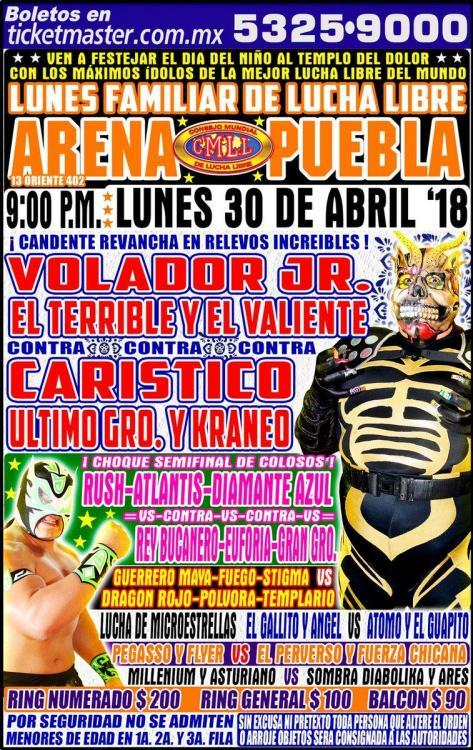 CMLL Lunes Arena Puebla (April 30, 2018)