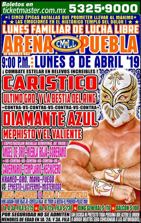 CMLL Lunes Arena Puebla (April 8, 2019)
