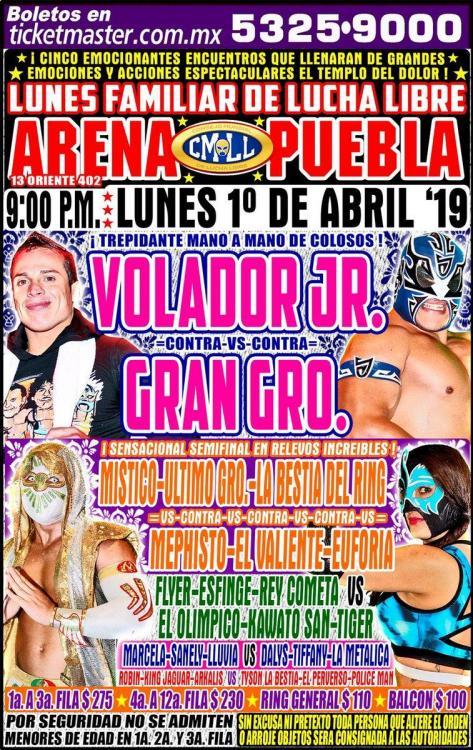 CMLL Lunes Arena Puebla (April 1, 2019)