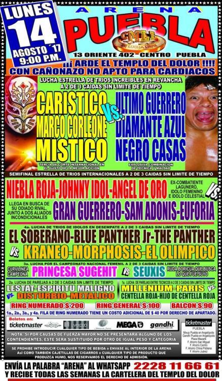 CMLL Lunes Arena Puebla (August 14, 2017)