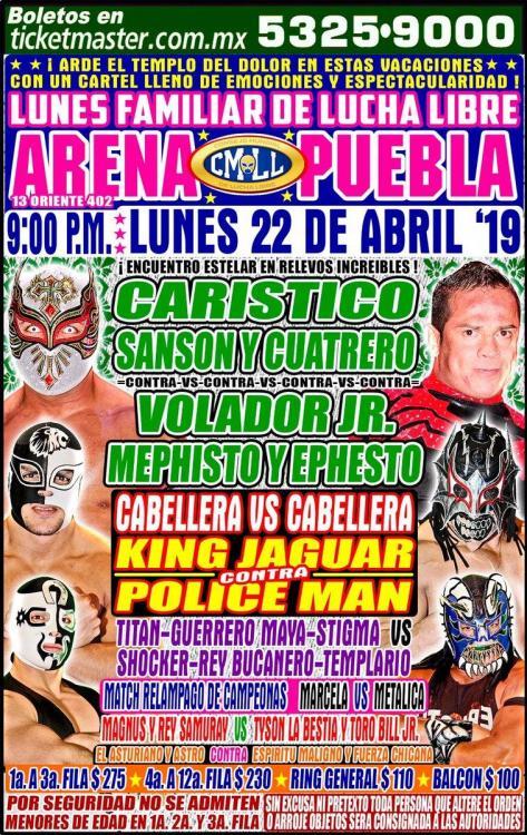 CMLL Lunes Arena Puebla (April 22, 2019)