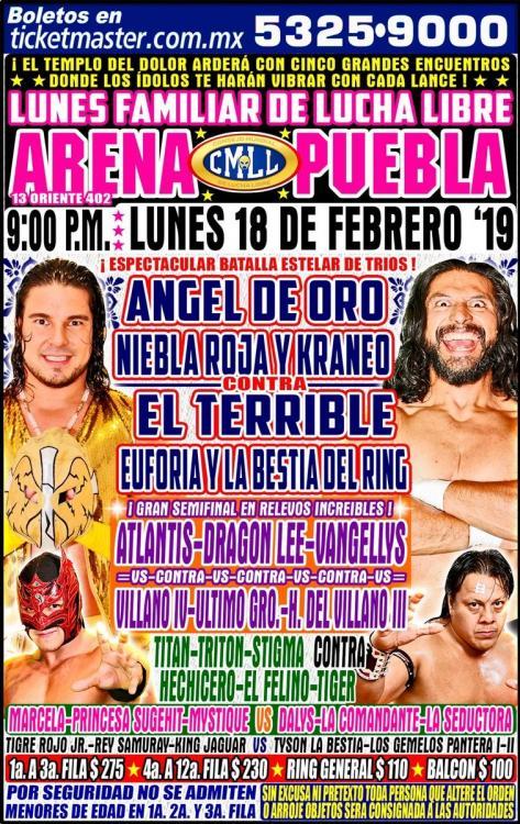 CMLL Lunes Arena Puebla (February 18, 2019)