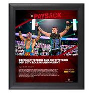 Dominik Mysterio & Rey Mysterio Payback 2020 15x17 Commemorative Plaque