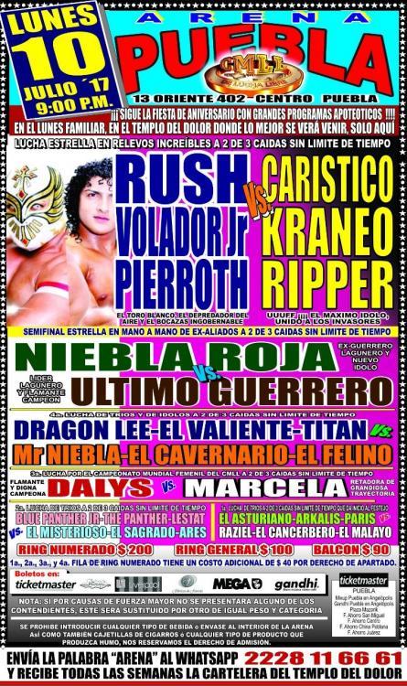 CMLL Lunes Arena Puebla (July 10, 2017)