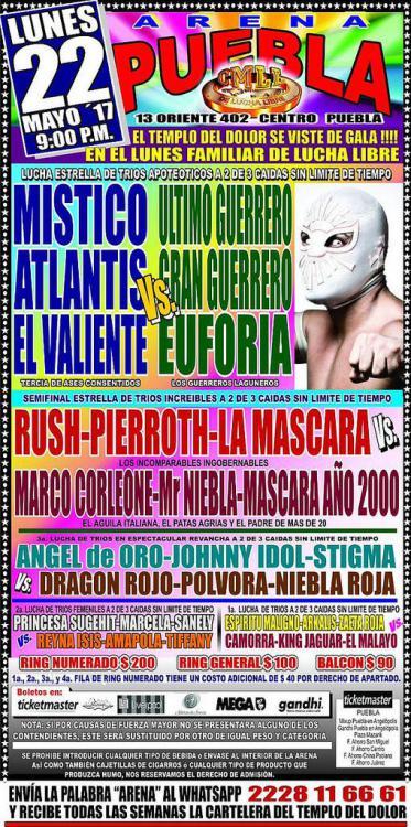 CMLL Lunes Arena Puebla (May 22, 2017)