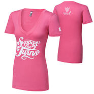 The Bellas Support The Twins Courage Conquer Cure Women's Pink V-Neck T-Shirt