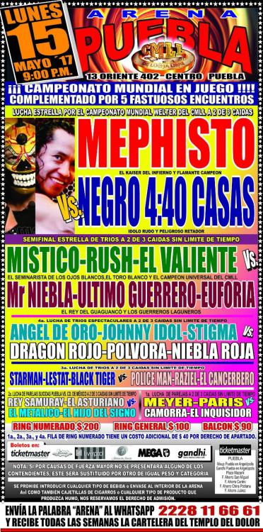 CMLL Lunes Arena Puebla (May 15, 2017)